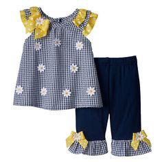 9d1c60b1d Baby Girl Blueberi Boulevard Gingham Floral Top   Ruffled Pants Set