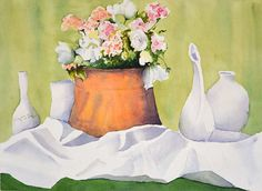 Original Watercolor Painting Floral Still Life by NancyKnightArt