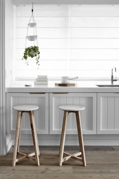 Scandi-inspired timber and marble furniture designed in Melbourne - The Interiors Addict Cheap Bar Stools, Cool Bar Stools, Timber Bar Stools, Rustic Stools, Fur Stools, Wooden Bar Stools, Kitchen Benches, Kitchen Stools, Island Kitchen