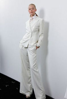 TROUSER SUITS...Ralph Lauren's 'The Great Gatsby' style pinstripe summer suit.