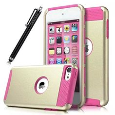iPod Touch 6 Case, iPod Touch 5 Case,Lantier iTouch 6 Case iTouch 5 Case Hybrid Dual Layer Shockproof Case for Apple iPod Touch 6 / iPod Touch 5 6th Generation with Stylus (Gold/Hot Pink): Amazon.ca: Cell Phones & Accessories