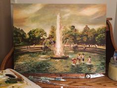 Painting by Dawn Dale - Washington Square Fountain Acrylic #ny #art