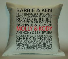 Personalized couple listed among famous by PillowTalkandMoreSTL, $29.99