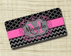Custom Personalized License Plate, Monogrammed License Plate, Chevron Quatrefoil Black Gray Hot Pink or ANY Color(s) by LittleGoddessBtq on Etsy https://www.etsy.com/listing/204003706/custom-personalized-license-plate