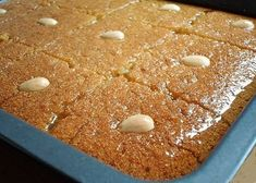 """Semolina Cake from Greece. This recipe is very interesting and easy to prepare. It is based on famous """"Hot-Cold"""" technique used for baklava. This recipe will rewarded you with delicious Semolina cake Armenian Recipes, Turkish Recipes, Greek Recipes, Desert Recipes, Greek Sweets, Greek Desserts, Just Desserts, Delicious Desserts, Istanbul Food"""
