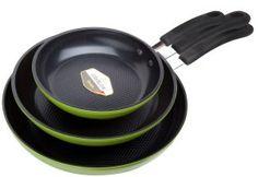 Green Earth Frying Pan 3-Piece Set Non-Stick Coating