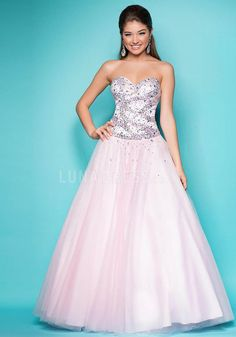Tulle A line Sweetheart Natural Waist Floor Length Prom Gown