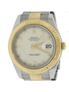 2013 Rolex DateJust II 116333 Ivory Diamond Dial 18k Two Tone 41mm Watch Box Papers