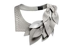Daniel Havillio leather bib necklace. Edenia, necklace in python skin. Remarkable Leather Jewelry.