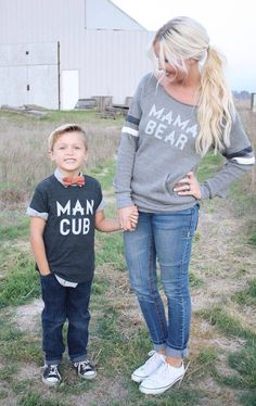 Mama bear and man cub shirts for mama and her little boy!