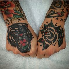 Traditional style hand tattoos #tiger #rose #blackrose #tattoo