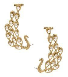 Buy Peacock Earrings studded with Moti hoop online
