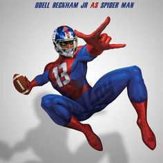 "The folks at NFL Memes turned ""NFL Stars into Superheroes"" and Odell got the spidey treament! View more NFL stars:"