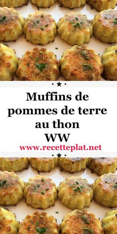 Discover this delicious recipe for tuna potato muffins, easy and simple - Healthy Muffin Recipes, Ww Recipes, Healthy Muffins, Fish Recipes, Healthy Dinner Recipes, Crockpot Recipes, Weight Watchers Muffins, Healthy Family Dinners, Gourmet
