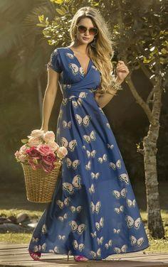 Maxi Length Faux Wrap Floral Print Casual Dress in 2020 White Flower Girl Dresses, Pretty Dresses, Beautiful Dresses, Long Summer Dresses, Lace Evening Dresses, Outfit Trends, Vestidos Vintage, Hippie Dresses, Fashion Mode