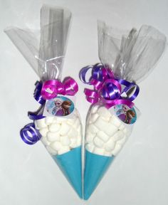Disney Frozen Mini Marshmallow Birthday Party Favours Cone Bags x 10