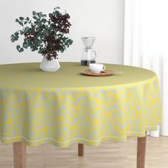 The luxe, heavy cotton sateen Malay tablecloth will elevate your round dining table with one-of-a-kind pattern and color. The Malay tablecloth is made of our durable, wrinkle-resistant, Luxe Cotton Sateen and features a double folded Circular Tablecloths, Round Tablecloth, Surface Art, Surface Design, Black Round Dining Table, Deco Blue, 1920s Art Deco, Blue Yellow, Orange