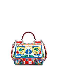 Sicily+Small+Maiolica-Print+Satchel+Bag,+Multi+by+Dolce+&+Gabbana+at+Neiman+Marcus.