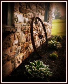 wagon wheel and hosta's