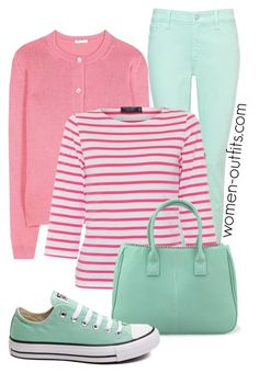 pinks and mint casual by xwtiko on Polyvore featuring Miu Miu, Saint James, NYDJ and Converse