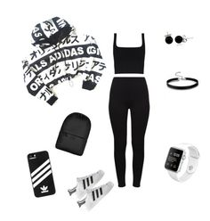 """""""Untitled #158"""" by krismonet on Polyvore featuring adidas, Bling Jewelry, Rains, casual and blacknwhite"""