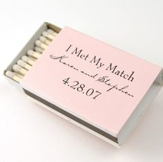 Personalized Matches, Wedding Matches for the Perfect Match! Our company a offers a wide selection of personalized matches arriving in different shapes, sizes and colors to fit every bride's style. Also choose from our selections ofwedding favors, persona Creative Wedding Ideas, Cute Wedding Ideas, Perfect Wedding, Wedding Inspiration, Fun Wedding Favors, How To Make Wedding Favours, Personalized Wedding Favors, Wedding Favour Candles, Door Gift Wedding