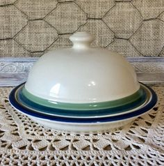 Vintage Round Covered Butter Dish in Ocean Breeze by Pfaltzgraff - Pfaltzgraff Replacements - Made in USA by CottonTopVintage on Etsy