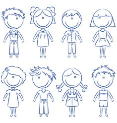 Happy kids vector image on VectorStock Drawing Lessons For Kids, Art Drawings For Kids, Doodle Drawings, Cartoon Drawings, Easy Drawings, Doodle Art, Art Lessons, Art For Kids, Simple Doodles