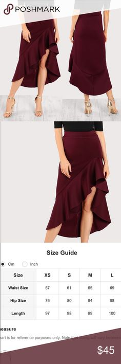 🆕HOLIDAY STYLE🎄Ruffle front a line flounce skirt Beautiful deep red color for your holiday party! Also available in black and green in my closet. If sizes small or xl are needed please let me know and I can see if I can order quickly for you. Measurements see chart above (cm) items#YCL1744810998R Skirts