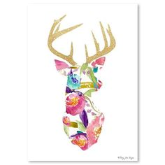 Penny Jane - Floral And Gold Deer, Print, 30cm x 42cm