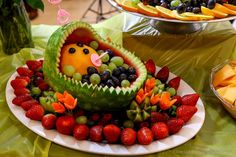Bird baby shower party fruit tray! See more party planning ideas at CatchMyParty.com!