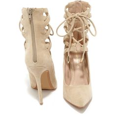 Lofty Ambitions Nude Lace-Up Heels ($41) ❤ liked on Polyvore featuring shoes, pumps, sexy pumps, pointed-toe pumps, sexy shoes, nude pumps and shoe republic la pumps