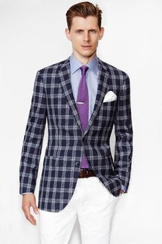 Paul Betenly Navy Plaid Sportcoat | Everard's Clothing