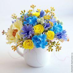 """Купить Цветочная композиция """"Дашкин букетик"""" - желтый, мак, букет, цветы, молочник, роза, гортензия"""