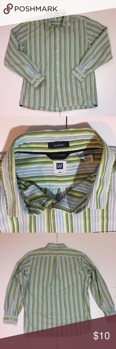 "GAP Classic Green Stripe Button Down Shirt GAP Classic Green Stripe Button Down Shirt. Size L measures: 20"" across shoulders, 26"" across chest, 31"" long, 25"" sleeve. 100% cotton. 311/25/040717 GAP Shirts Casual Button Down Shirts"