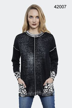 861b6ab4fb5 G9C Animal Print Washed Black Sweater - New Moon Boutique Trendy Clothes  For Women, Black