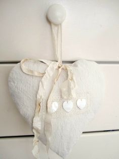 White pillow heart.