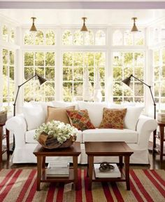 Room Decorating Ideas, Room Décor Ideas & Room Gallery | Pottery Barn - neutral and red, love it! - sun room?