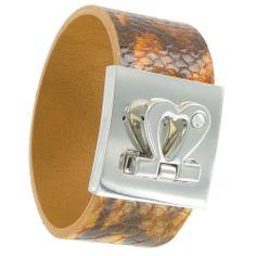 Roma Bracelet Wrap Orange Brown Animal Print Snake Grain Leather Heart