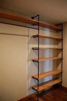 Industrial Pipe Closet Designs You Can Make Yourself Wood Closet Shelves, Bedroom Shelves, Bedroom Storage, Bookshelf Wall, Loft Wall, Wood Bookshelves, Bookcase, Pipe Closet, Closet Rod