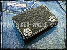 """Jaws Pip Squeek Black"" 5"" Hand stitched Shark Custom Handmade Biker Wallet"