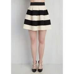 Vintage Inspired Short Length Full Stripe It Lucky Skirt ($45) ❤ liked on Polyvore featuring skirts, stripe skirt, a line skirt, print skirt, knee length a line skirt and black a line skirt