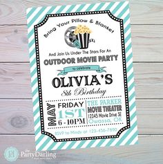 Super birthday invitations diy for teens movie nights ideas Movie Party Invitations, Diy Invitations, Digital Invitations, Birthday Invitations, Outdoor Movie Party, Movie Themes, Movie Ideas, Birthday Party Themes, 16th Birthday