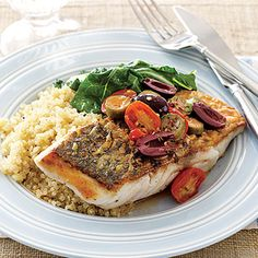 Sea Bass with Tomatoes and Olives #recipe