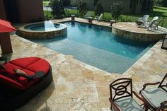 10' wide spa, check. sun shelf for lounging, check.  Deck large enough for a great party, check!