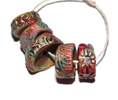 Chunky Ceramic Colourfully Rustic Disk Beads Handmade Multi Colour