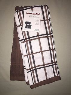 KITCHENAID 2 PACK COTTON TERRY KITCHEN TOWELS BROWN NWT