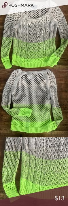 American Eagle sexy ombre' neon cable sweater GORGEOUS American Eagle sexy open knit ombre' neon cable sweater in excellent condition. Sharp ombre' blend of neon lime, sand, and cream. ❤️ Please browse my closet; Anthropologie, Hollister, Aerie, American Eagle, Victoria's Secret, Free People, J Crew, LF, Eddie Bauer, Boston Proper, Express, Boho styles, boutique, Nike, Strasburg, Gymboree, Gap American Eagle Outfitters Sweaters