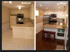 Cheap Kitchen Remodel Before And After (repainted The Countertops With  Sicilian SandTM Granite Countertop Paint Kit)