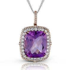 This elegant 18K white and rose gold pendant holds 1.52ctw white diamonds with 19.47ctw kanzite in the center. Fashion Passion Collection MP1732
